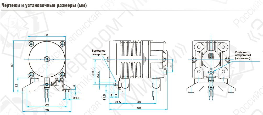 Чертежи и установочные размеры (мм) поршневого линейного компрессора MEDO AC0110-D3