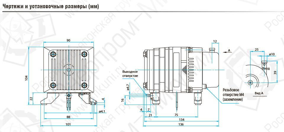 Чертежи и установочные размеры (мм) поршневого линейного компрессора MEDO AC0105