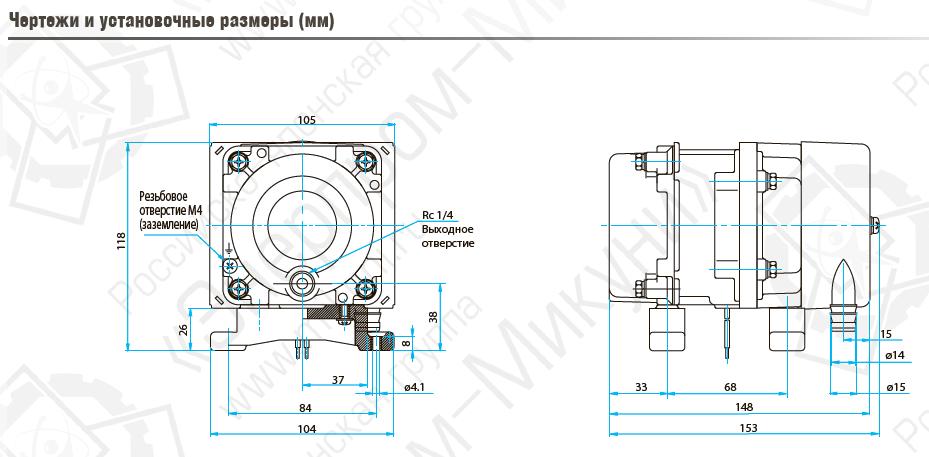 Чертежи и установочные размеры (мм) поршневого линейного компрессора MEDO AC0301A