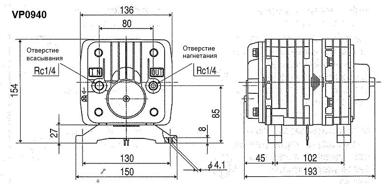 Габариты модели вакуумного поршневого насоса Nitto Kohki (MEDO) VP0940
